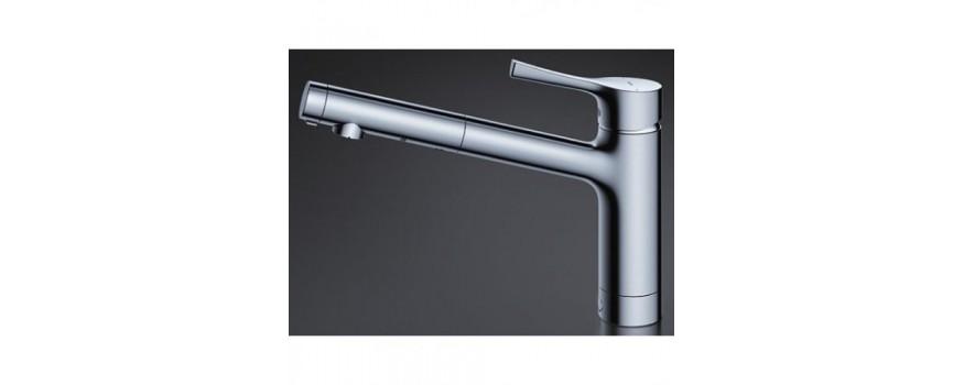 Vòi rửa bát nhà bếp Toto TKS05304J với nút chỉnh nước ngay tại đầu vòi