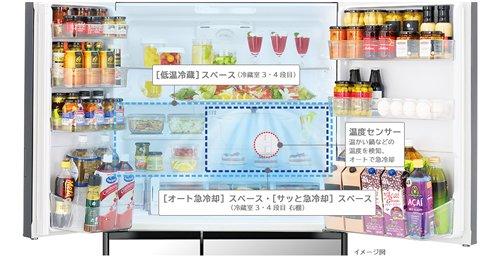 Tủ lạnh Hitachi R-HW60K thiết kế 6 cánh cửa với mặt gương pha lê