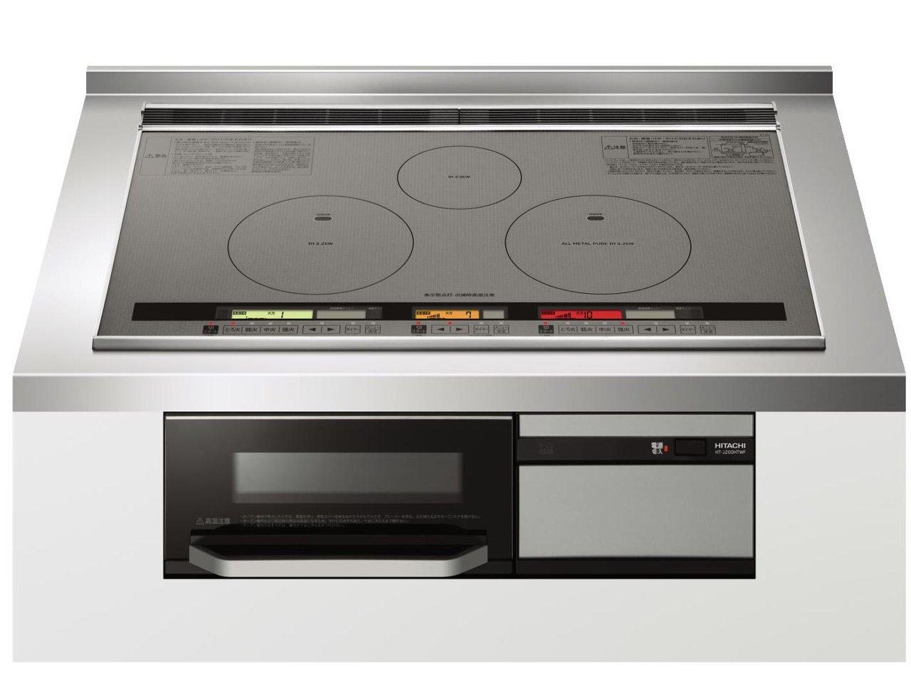 Bếp từ Hitachi HT-J200HTWF size 75cm với 2 bếp từ IH, 1 bếp All Metal, 1 lò nướng